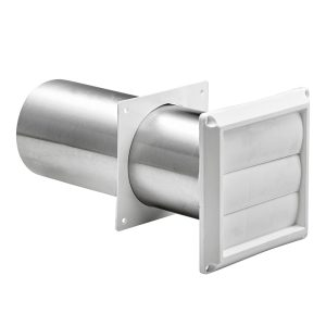 "4"" White Plastic Louvered Vent W/ Tail Pipe"